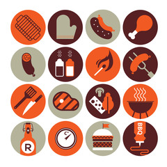 Set of icons with bbq silhouettes