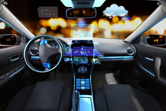 car salon with navigation system and meteo sensors