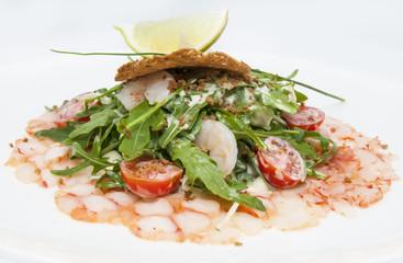 salad greens and shrimp meat
