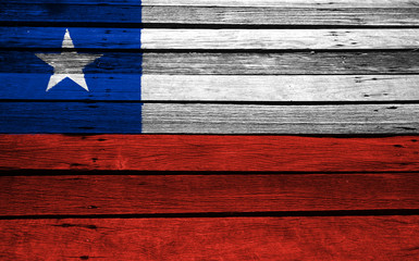 Chile flag on wood