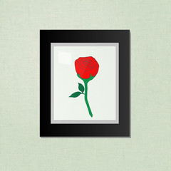 Rose Picture on a Black Frame EPS10