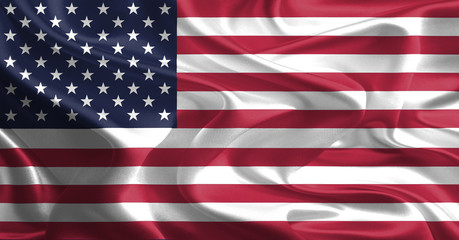 Waving Fabric Flag of United States of America, USA