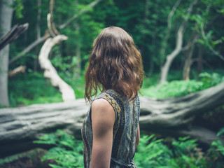 Young woman standing in forest by fallen tree
