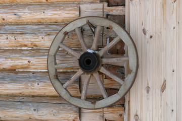 Wagon wheel on the wall