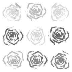 Set of 9 gray rose stamp (Vector illustration)