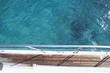 Italy,Sardinia,Planks of yacht deck