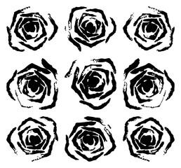Set of 9 black rose stamp (Vector illustration)