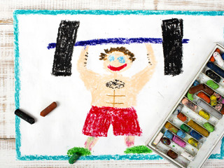 colorful drawing: bodybuilder and dumbbell