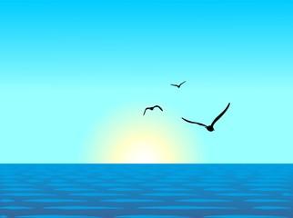 Realistic illustration of sea landscape