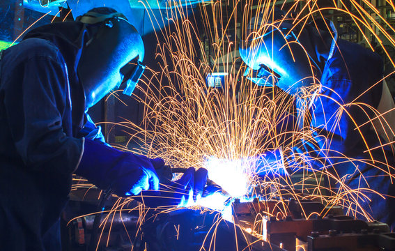 welding worker In the automotive parts industry.