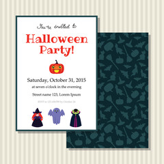 Halloween invitation card with cute little witch, ghost, vampire and pumpkin