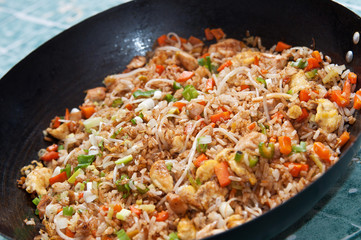 A wok with american style chinese rice