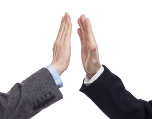 Successful business giving high five