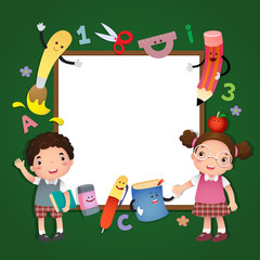 Illustration of back to school. School kids with a sign board