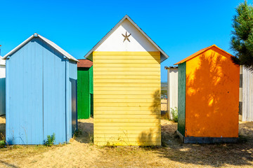 Beach cabines on ile d oleron, France