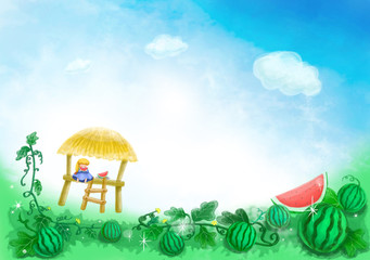 summer story and cool watermelon