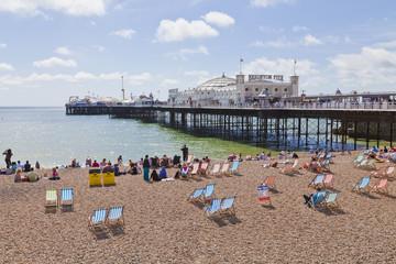 Engladn,Sussex,Brighton,View of beach at Brighton Pier