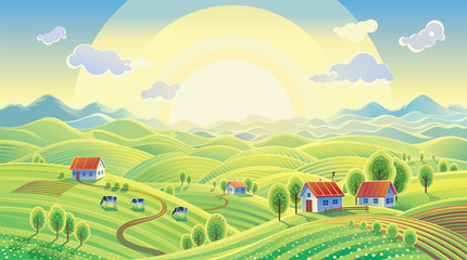 Summer rural landscape with village. Wall mural