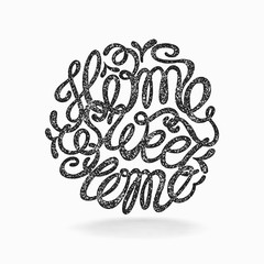 """Calligraphic hand drawn  lettering vector poster """"Home sweet hom"""