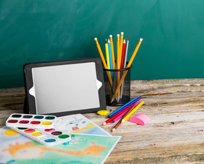 Tablet pc and different schoolchild and student studies accessor