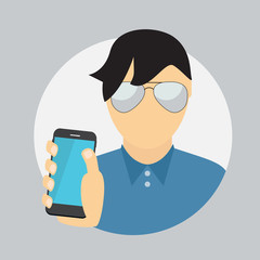 The Man Holding a Mobile Phone. Communication Concept. Vector