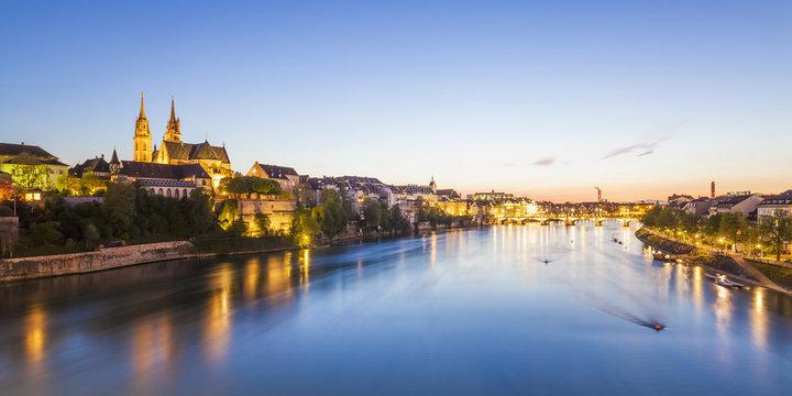 Switzerland, Basel, city view and Rhine at dusk