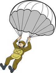 American Paratrooper Parachute Cartoon