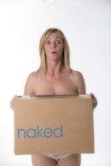 Woman carrying a cardboard box