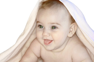 baby after bath - Stock Image