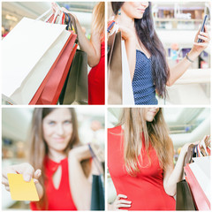 Collage of several photos for shopping concept with bags