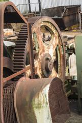 rusty gear wheels on an old macine