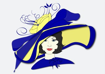 An illustration of a woman wearing a hat for the Kentucky Derby
