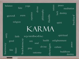 Karma Word Cloud Concept on a Blackboard