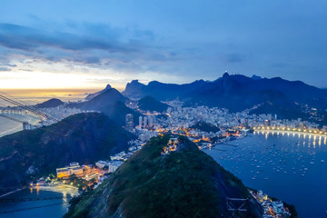 Brazil, View from Sugarloaf Mountain to Rio de Janeiro in the evening light