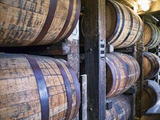 Barrels maturing Bourbon in Distillery in Bardstown Kentucky USA