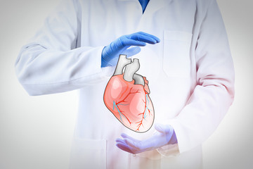 Doctor hands in medical gloves holding heart isolated on white
