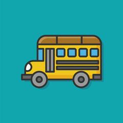 school bus color line icon