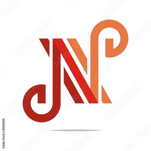 Logo Abstract Letter N Combination Design Element Symbol Icon Stock