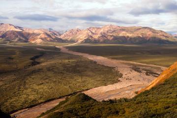 Wall Mural - River Valley and Mountains Alaska Denali Range USA