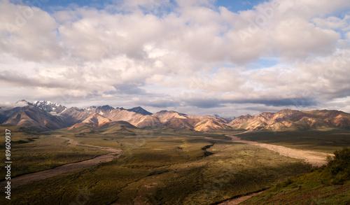 Wall mural Puffy clouds blue sky Alaska Range Denali National Park