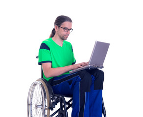 young man in a wheelchair with laptop