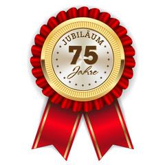 Gold 75 Jahre Jubiläum Rosette mit roter Sherpe