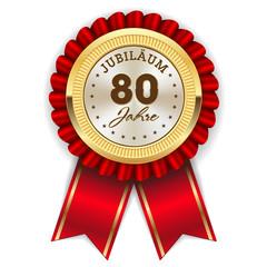 Gold 80 Jahre Jubiläum Rosette mit roter Sherpe