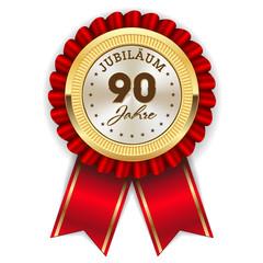Gold 90 Jahre Jubiläum Rosette mit roter Sherpe