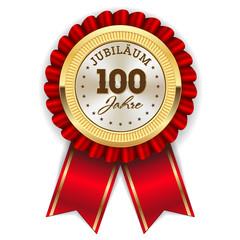 Gold 100 Jahre Jubiläum Rosette mit roter Sherpe