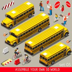 School Bus Vehicle Isometric