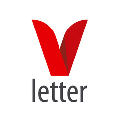 logo red ribbon in the shape of the letter V