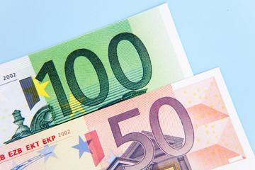 150 euro on light blue background