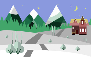 mountains and snow, nature, flat illustration