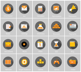 Big Vector Collection of Flat Business and Finance Icons with Lo